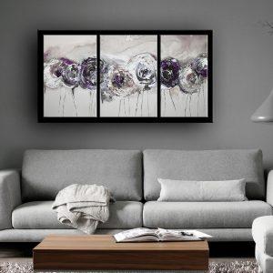Τριπτυχο με πλάτη από καμβά - Λουλούδια