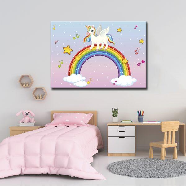 Παιδικός Πίνακας Μονόκερος . Παιδικός πίνακας σε καμβά διάστασης της επιλογής σας με τελάρο. Έτοιμος για τον τοίχο. Έντονα χρώματα σε μία υπέροχη χαριτωμένη σύνθεση. Ο Παιδικός Πίνακας Μονόκερος αποτελεί μια υπέροχη λύση για το παιδικό δωμάτιο.