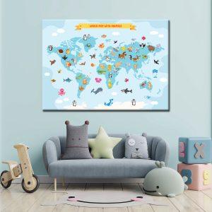 Παιδικός Πίνακας Χάρτης Ζωάκια