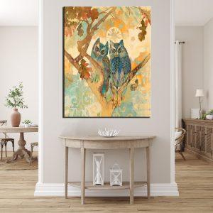 Πίνακας σε καμβά blue owls