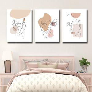 Τρίπτυχο Line Art Women. Τρίπτυχος πίνακας σε καμβά με τελάρο διάστασης 150x60 cm (50x60 cm το κάθε τεμάχιο). Γυναικείες φιγούρες.