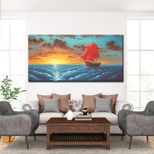 Χειροποίητη ελαιογραφία - Πίνακας Θάλασσα - Ουρανοπολίτης. Ελαιογραφία σε μεγεθοσ 70x140 cm Διαθέσιμη και σε αντίγραφα σε καμβά σε διάφορα μεγέθη