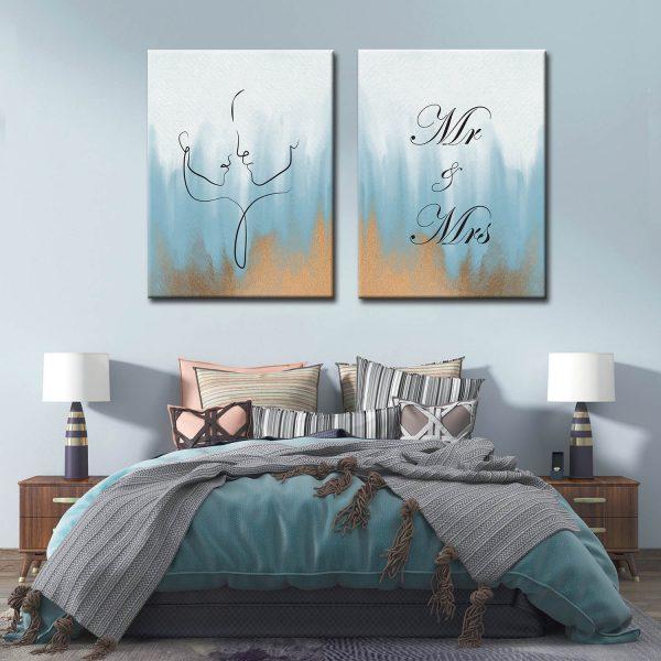 Δίπτυχο Line art Mr And Mrs